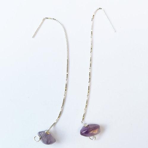 Boucles d'oreilles pendantes argent et améthyste