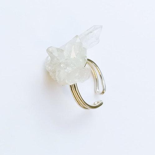 bague réglable avec cristal de roche ref CR1