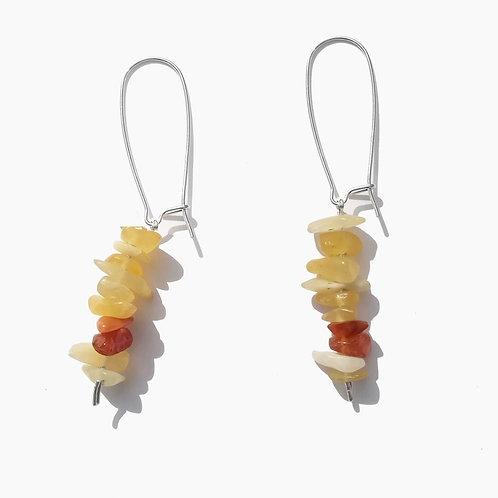 boucle d'oreilles argent calcite jaune et cornaline
