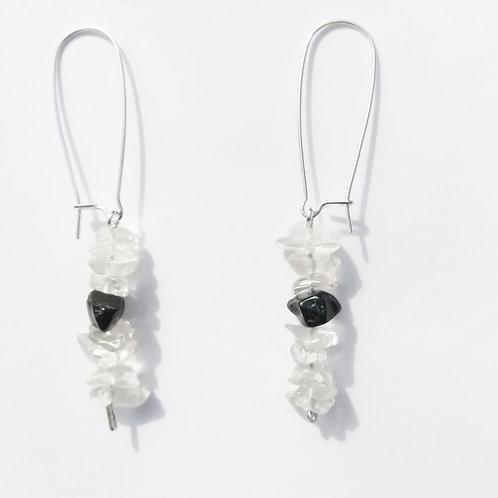 boucles d'oreilles cristal de roche et onyx noir