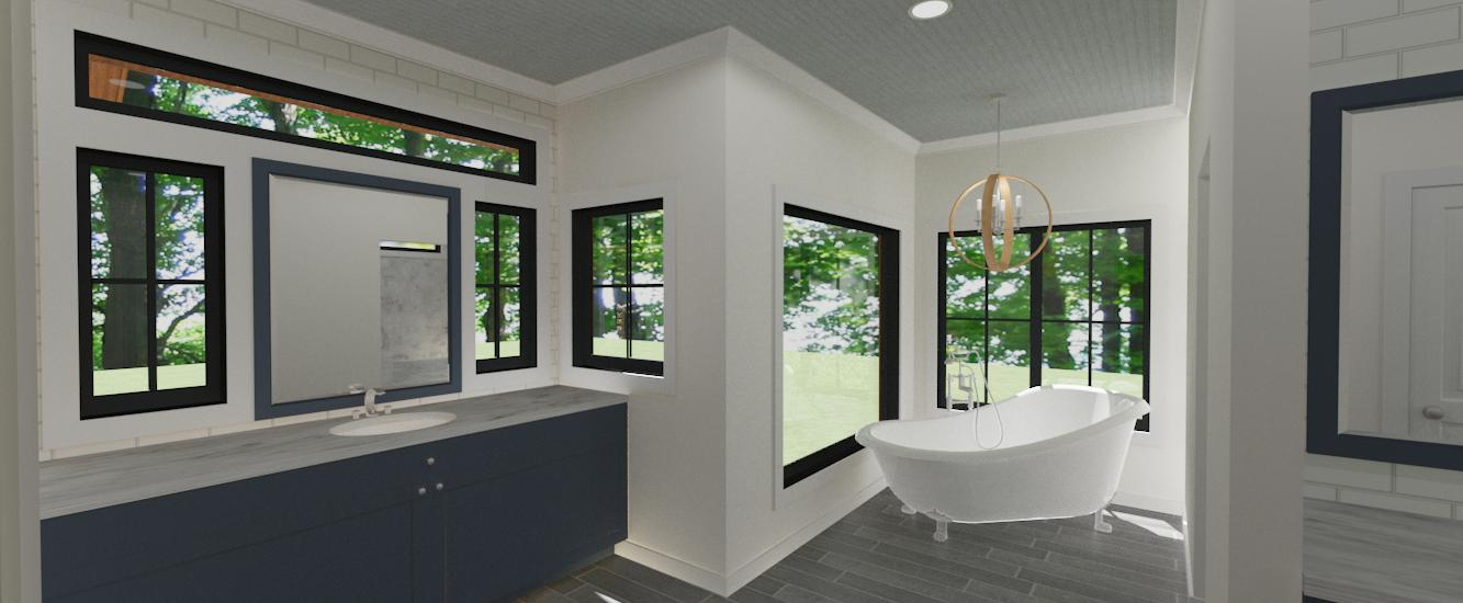 Lodge II master bath render