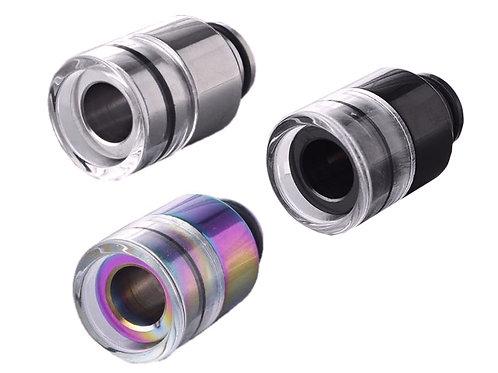 510er Drip Tip aus Edelstahl & Glas (Kühleffekt) / Silber, Schwarz oder Rainbow