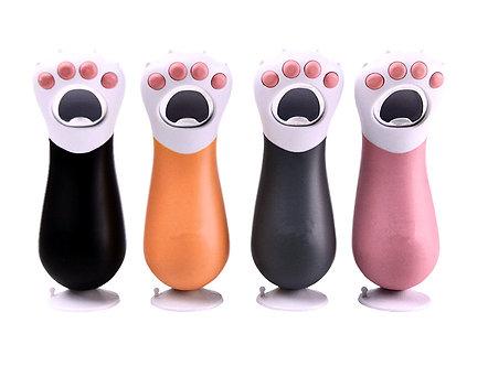 Flaschenöffner mit Standfuß 'Kitty Paw' / Schwarz, Orange, Grau, Rosa