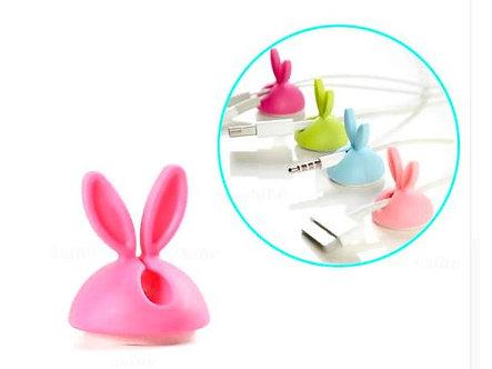 Kabel-Organizer aus Silikon 'Cable Bunny' / Pink, 4er Pack