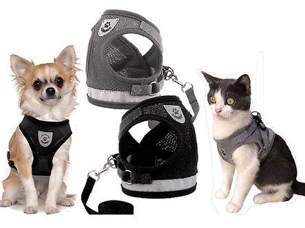 Hunde-& Katzengeschirr mit Reflektoren 'Go for a Walk' / M-XL,Grau oder Schwarz