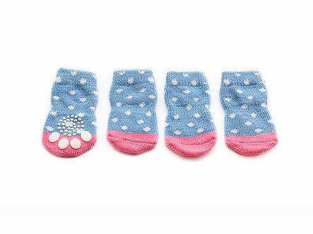 Warme Hundesocken mit ABS 'Girls also wear Blue' / S-XL
