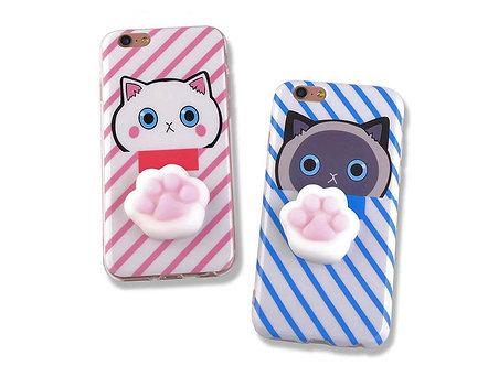 3D Handyhülle für das Apple iPhone 7 'Cat Squeeze' / Rosa oder Blau