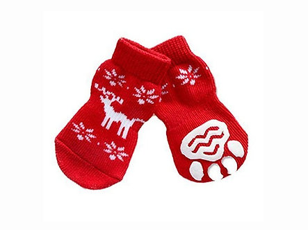 Warme Hundesocken mit ABS 'Lovely little Reindeer' / S-XL