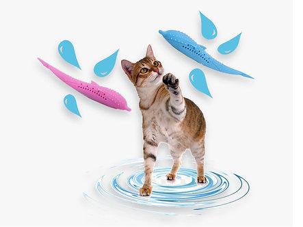 Katzenspielzeug zur Zahnpflege (inkl. Catnip) 'Chewing-Dolphin' / Rosa oder Blau