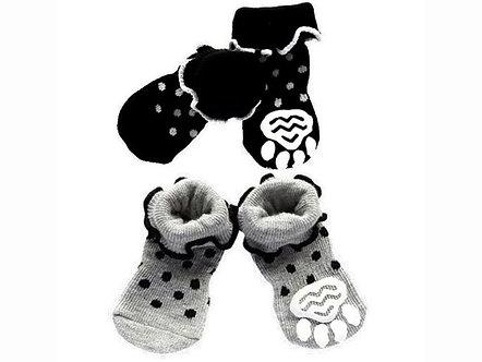 Warme Hundesocken mit ABS 'Dots and Spots' / S-XL, Schwarz oder Grau