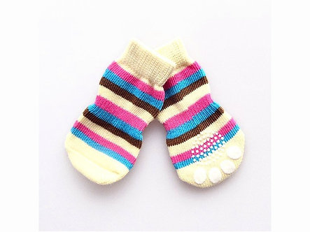 Warme Hundesocken mit ABS 'Candy colored Pawprints' / S-XL