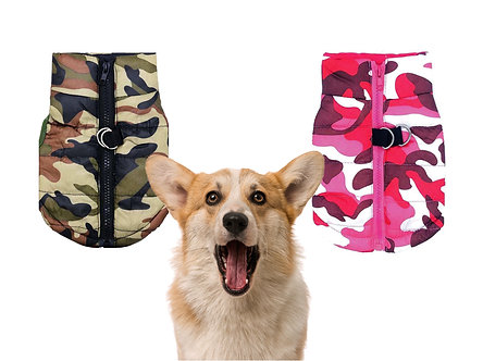 Warme Hunde-Weste 'Hiding in the Woods' / Green Camo & Pink Camo; M-L