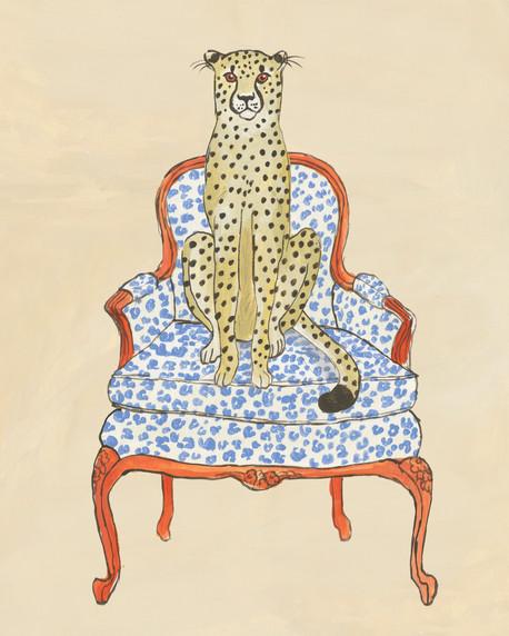 Cheettah on Bergere chair