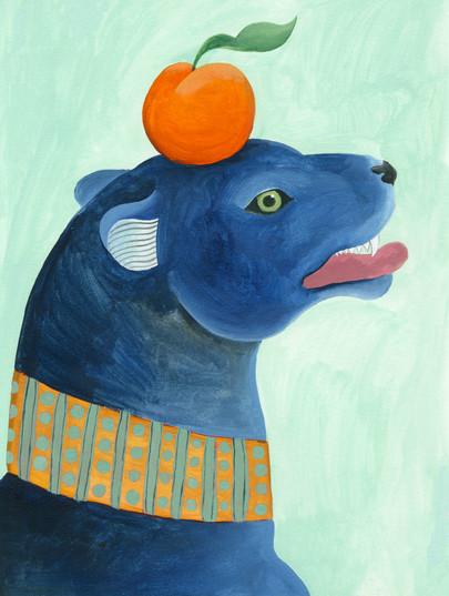 Ilustracion de pantera con naranja.