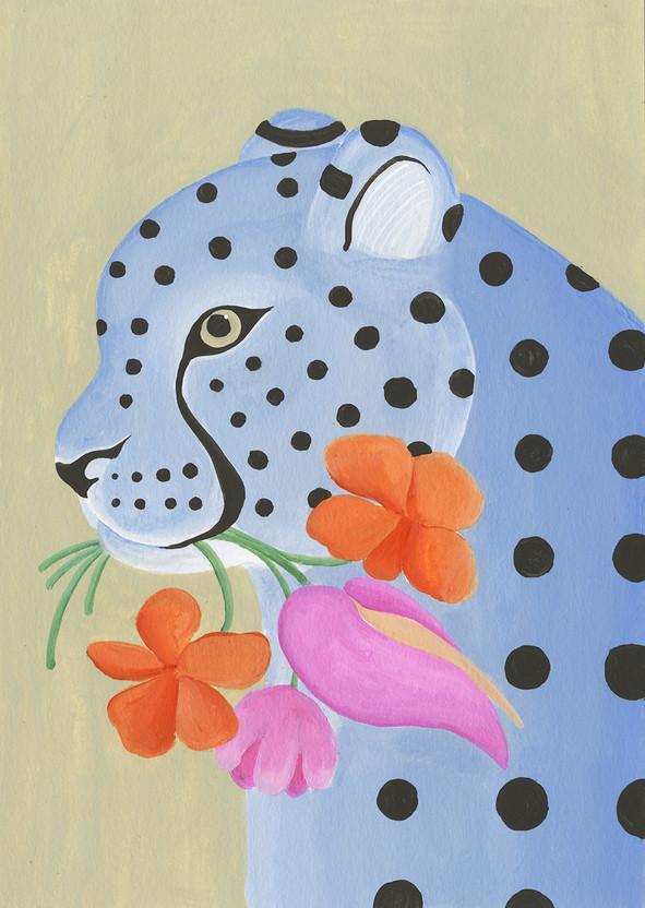 Leopardo regalando flores