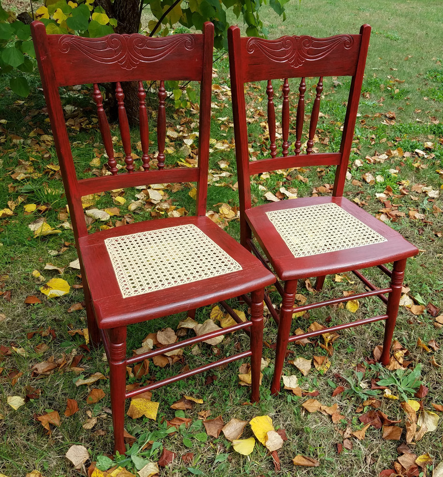 Pair of Red Hand-Caned Chairs
