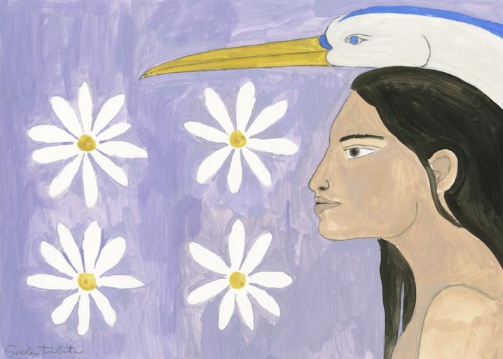 Woman and heron