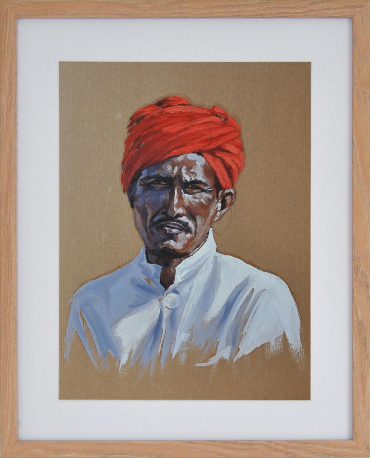 Turban rouge n°2, 40x50cm, vendu