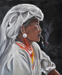 Femme à la pipe, 54x65cm, vendu