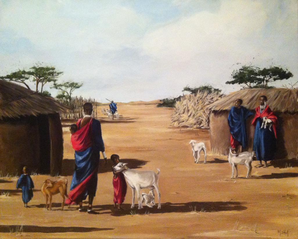 Village Massaï, 90x70cm, vendu