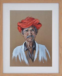 Turban rouge n°1, 40x50cm, vendu
