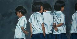 Petites écolières, 90x50cm, vendu