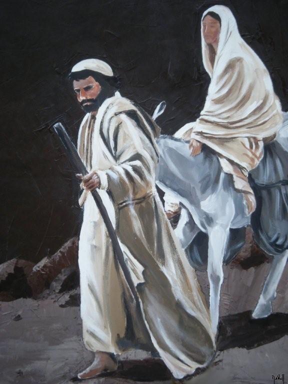 La fuite en Egypte, 64x54cm