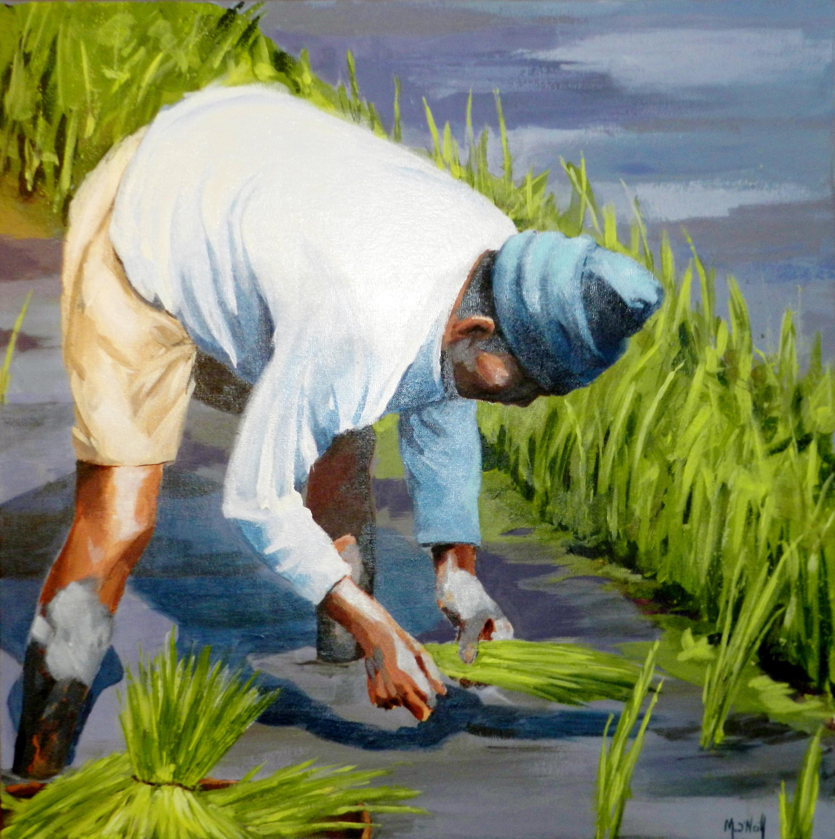Repiquage du riz, 70x70cm, vendu