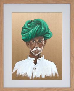 Turban vert, 40x50cm, vendu