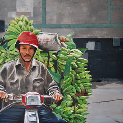 Marchand de bananes, 80x80cm