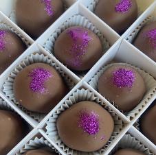 Black Raspberry Liqueur (Chambord) truffles dipped in Milk or Dark Chocolate