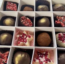 Box of mixed chocolates with truffles