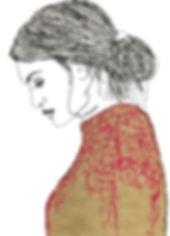 A4 Illustration Pink embroidered jumper.