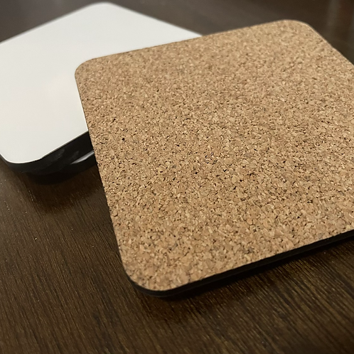Sublimation MDF Hardboard glossy Coasters with cork back 10 pack