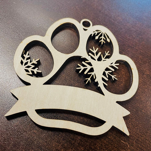 Paw Print Wooden Ornament 4in