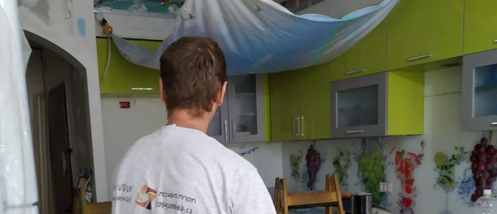 תקרה נמתחת למטבח בתל אביב