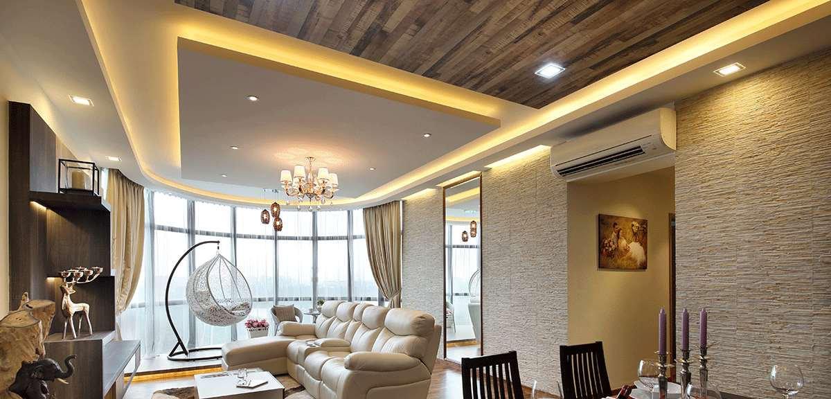 עיצוב תקרה צפה עם תאורה הקפית