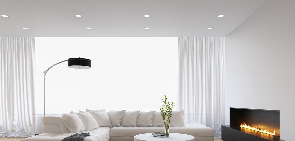 עיצוב תקרה מתוחה לבנה בגימור מט צבע לבן בסלון