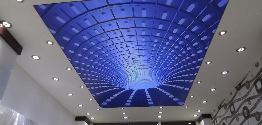 עיצוב תקרה מתוחה עם הדפס תלת מימד ותאורה  בשילוב תקרה מגבס