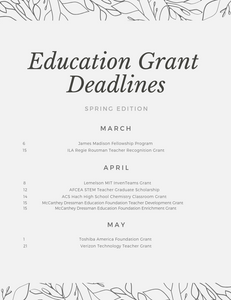 Complete list of classroom and education grants for teachers and educators with deadlines in spring 2019. These grants range from scholarships for current teachers and professional development grants, to mini grants for classroom supplies