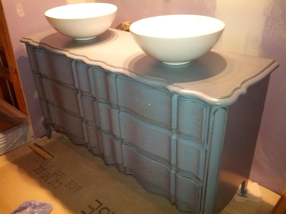 Converting dresser into bathroom vanity DIY
