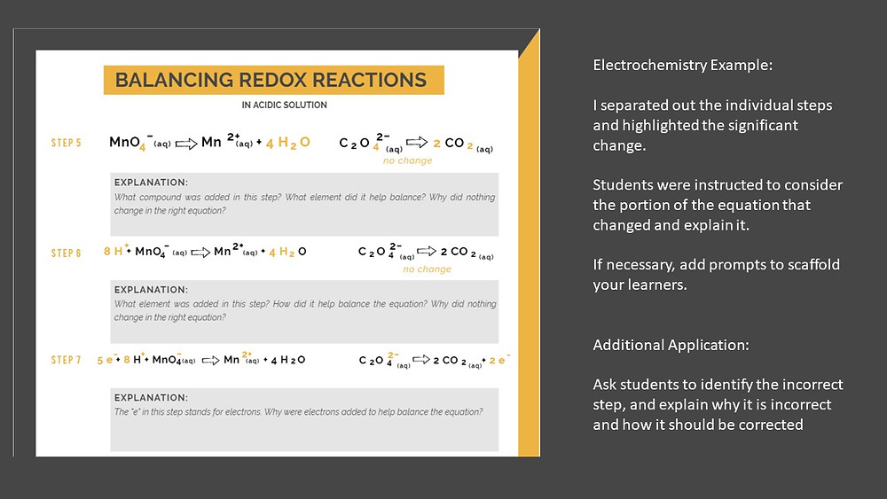 Balancing redox reactions worksheet for electrochemistry chemistry unit (in an acidic solution)