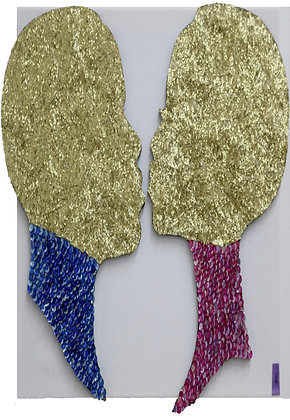 QBC1149 – African Lovers - Gold with Sequins