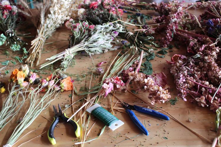 Dried flower wreath making