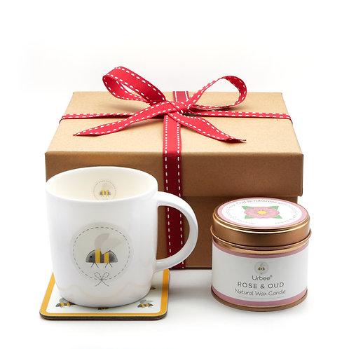 Mug, Coaster & Candle Gift set