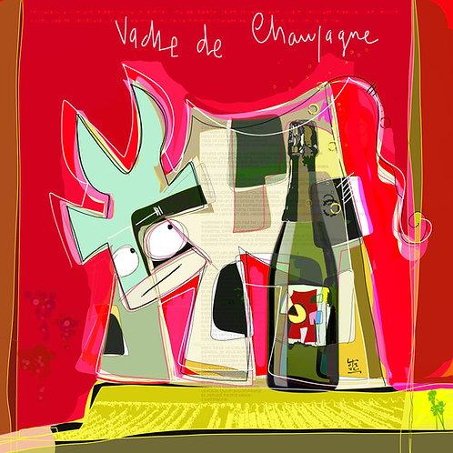 VanLuc œuvre reproduite sur métal Vache de Champagne