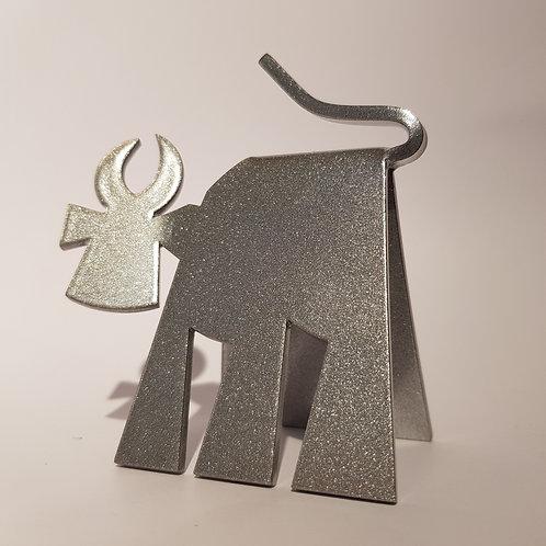 VanLuc Vache de Métal Mini-VaVa monochrome gris métal pailleté