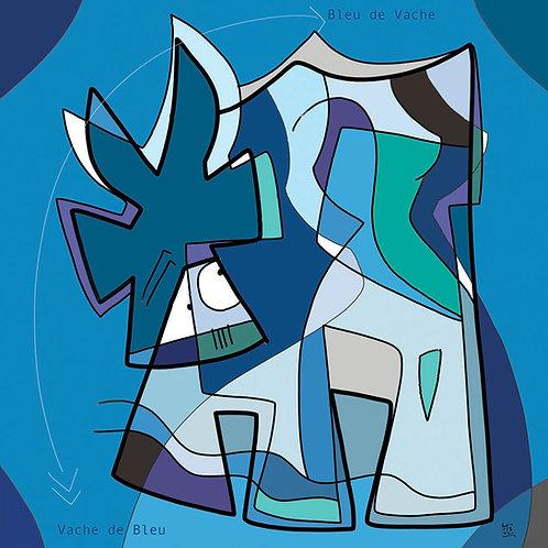 VanLuc œuvre reproduite sur métal Vache de Bleu