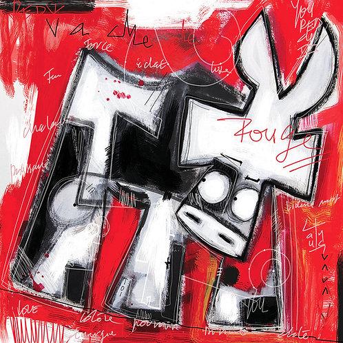 VanLuc œuvre reproduite sur métal Vache de Rouge