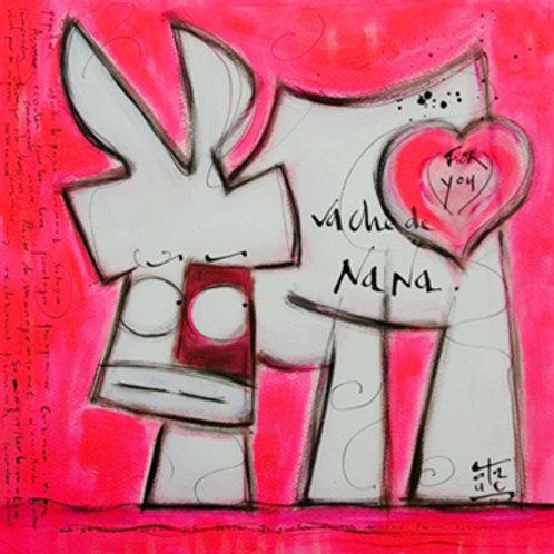 VanLuc œuvre reproduite sur métal Vache de Nana rose
